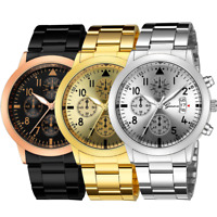 Men's Luxury Quartz Sport Watch Military Stainless Steel Dial Leather Band Wrist
