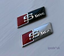 2 x S LINE STEERING WHEEL SELF ADHESIVE BADGE BLACK SILVER AUDI A1 A3 A4 A5 A6