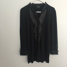 Theory Womens Size M Medium Black Ruffle Front Button Down Shirt