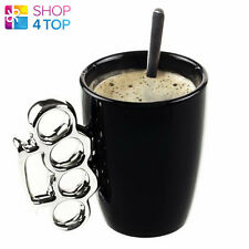 BRASS KNUCKLE DUSTER HANDLE MUG CUP COFFEE TEA BLACK CERAMIC FUNNY NOVELTY GIFTS