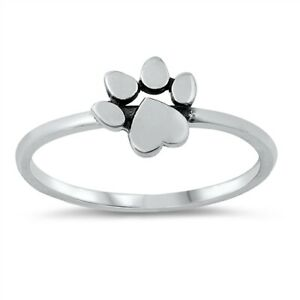 Sterling Silver Paw Print Ring Elasticated Dangle Charm Ring Dog Owner Gift Cat Owner Gift Silver Stacking Ring Beaded Ring Statement Ring
