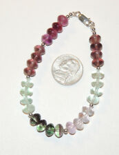 """Sterling Silver and 8x5mm Fluorite Rondell Bead Bracelet 8 """" (12698)"""
