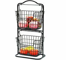 2 Tier Countertop Fruit Basket Storage Stand Organizer