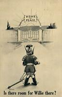 WWI BAMFORTH WAR CARTOON SERIES POSTCARD - IS THERE ROOM FOR WILLIE THERE?