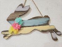 EASTER Spring 3D Floral Bunny Rabbit Wood Hanging Sign Home Decor