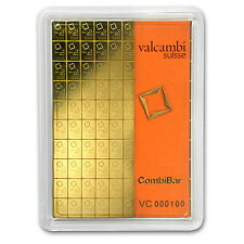 100 gram (100 x 1 gram) Valcambi Gold CombiBar in Assay Card