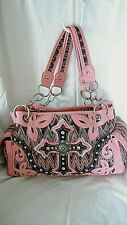 Large Handbag Purse Pink Heart Chain Bling Rustic Coutures