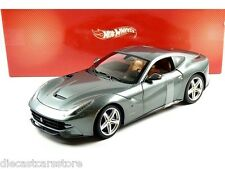 HOT WHEELS FERRARI F12 BERLINETTA GRIGIO SCURO GREY 1/18  DIECAST CAR BCJ74