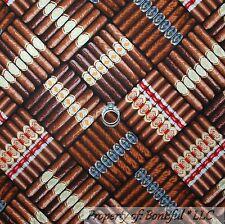 BonEful Fabric FQ Cotton Quilt Brown Black CIGAR SMOKE Label Box Man Cave Retro