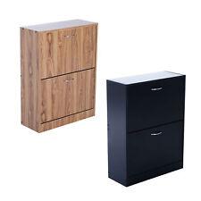 2 Drawers Shoe Storage Cabinet Door Cupboard Footwear Stand Rack