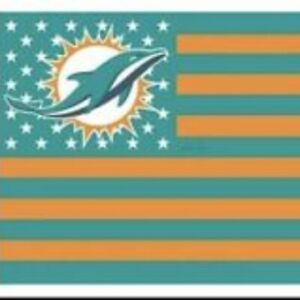 Miami Dolphins 3x5 Foot American Flag Banner New