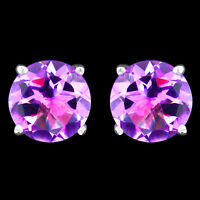 100% NATURAL 8MM AFRICAN AMETHYST GEMSTONE SOLID STERLING SILVER 925 EARRING