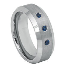Fine 8MM Tungsten Carbide Band Beveled Edge 0.21ct Blue Sapphire Brushed Ring