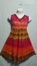 Women Clothing Tie Dye Sundress Summer Beach Sun Dress Fuchsia Orange Free Size
