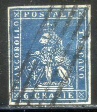 ASI Toscana 1851 n. 7e - 6 Crazie indaco su grigio - usato (l797)