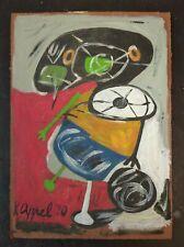 KAREL APPEL    Oil Painting on vintage  cardboard .