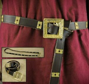 Medieval Brown Leather Noble's Long Belt - Costume Re-enactment Stage & LARP