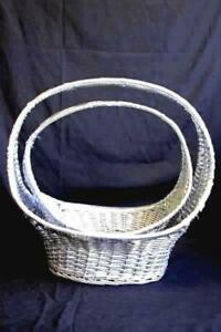 """Pair Of Oval Silver Willow Baskets Home Decor 12.5"""" and 15"""""""