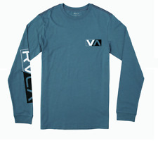 Rvca Lateral T-Shirt Long Sleeve Blue 100% Authentic Brand New