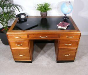 Mahogany Desk - 1930's H Baldock & Sons Art Deco Mahogany Banker's Desk -