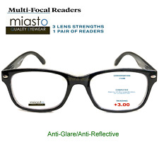 NWT$39.99 MIASTO MULTI-FOCAL COMPUTER READER READING GLASSES +3.00 NO LINE~BLACK