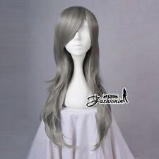 70CM Gray Long Wavy Party Women Basic Synthetic Hair Cosplay Wig Heat Resistant