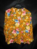 Old Navy XXL 2X NWT Orange Yellow Blue Floral Blouse V Neck Long Sleeve Shirt 2X