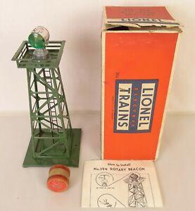 LIONEL #394 POSTWAR RARE DARK GREEN ROTATING BEACON TOWER-EX. IN ORIGINAL BOX!