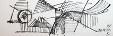 Avant Garde Cubism Constructivism Ink Painting Signed