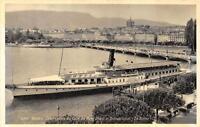 RPPC GENEVA SWITZERLAND LA SUISSE SHIP MONT BLANC REAL PHOTO POSTCARD (c. 1930s)