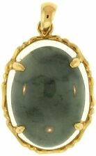 Natural Grey Jadeite Jade Oval Pendant 14K Yellow Gold 4 Prong Setting w/ Bamboo
