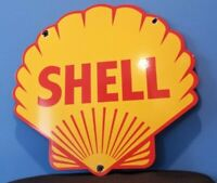 VINTAGE SHELL GASOLINE PORCELAIN GAS OIL SERVICE STATION LARGE PUMP PLATE SIGN