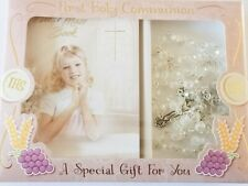 Girl's First Holy Communion Gift White Rosary & Mini Communion Book Set