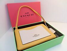 Coach wristlet color block yellow stone in BOX beautiful spring chic