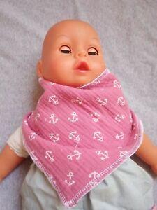 Halstuch Baby Spucktuch verstellbar Anker weiß rosa Junge Mädchen neu Handmade