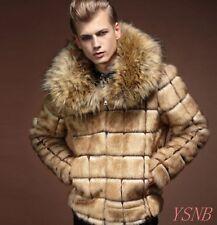 Men's Short Faux Fur Coat Faux Fur Collar  Winter Warm slim Jacket