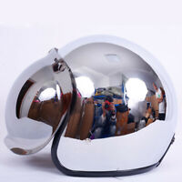 DOT Motorcycle Helmet Open Face Half 3/4 Bubble Shield Visor Chrome Silver XL
