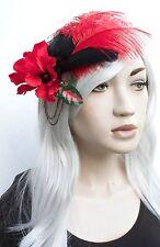 Red Poppy Gatsby Goa Boho Feather Hair Flower Clip Rockabilly Hawaiian Facinator