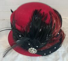 Mr. Hi's Burgundy Formal Church hat w/ Sequins Rhinestones Feathers