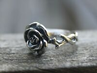 Adjustable solid 925 sterling silver rose ring Bohemian flower ring Gift for her