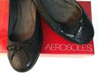 Women's AEROSOLES Ballet Flats Bec To Differ Slip-on Black Sequin Size 9.5M New