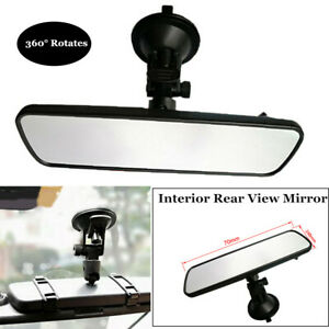 360°Clear Car Truck Wide Flat Interior Rear View Rearview Mirror Suction Cup Kit