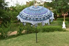 Indian Purple Elephant Mandala Large Outdoor Patio Parasol Garden Umbrella Decor