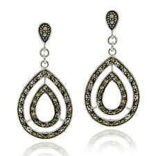 925 Silver Marcasite Double Teardrop Dangle Earrings