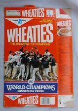 1987 Minnesota Twins World Series Champions Wheaties Cereal Box