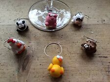 6 Wine Glass Charms Farmyard Pig Sheep Chick Horse Cow Hen Dinner Party BBQ Cute