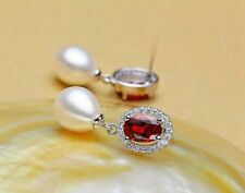 Damen Ohrringe 925 Sterling Silber Süßwasser Perle Rubin Rhodiniert Zirkonia AAA