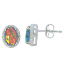 Black Opal & Diamond Oval Stud Earrings White Gold Silver