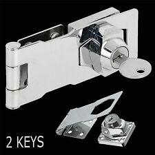"75mm Self Locking Security Hasp & Staple 2 Keys Padlock Lock Shed Cupboard 3"""