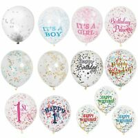 """5 x 12"""" Clear Confetti Filled Balloons Birthday Party Wedding Decorations"""
